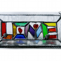 Love Stained Glass Suncatcher Sign 003
