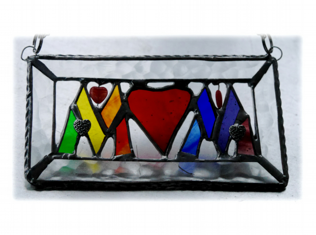 Mum Stained Glass Suncatcher Sign 006