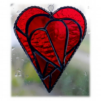 Triple Heart Stained Glass Suncatcher 003