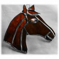 Horse Suncatcher Stained Glass Horsehead Brown 079