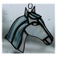 Horse Suncatcher Stained Glass Horsehead White 080