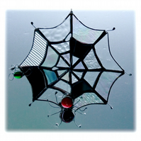 Spider's Web Suncatcher Stained Glass with Red Spider and Green Fly 038
