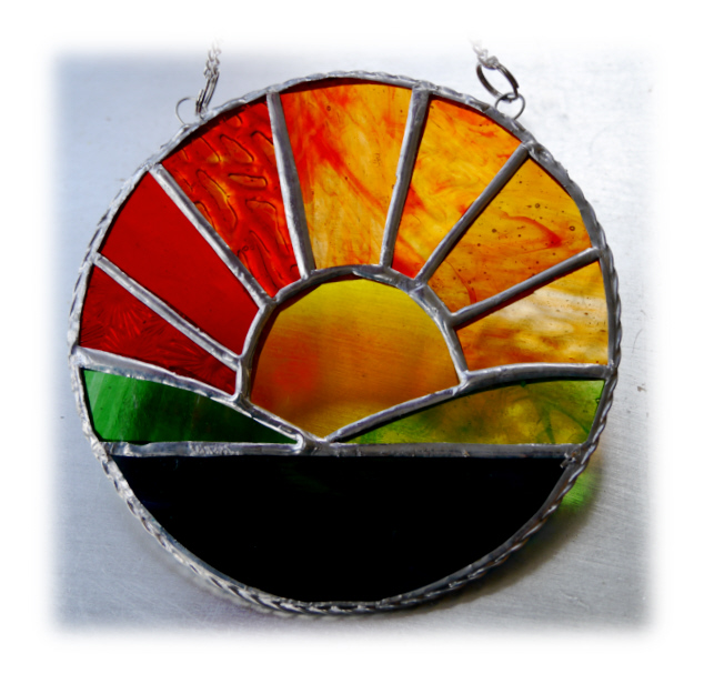 SOLD Sunrise Picture Stained Glass Suncatcher Handmade Sun Ring 024