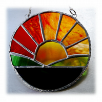 Sunrise Picture Stained Glass Suncatcher Handmade Sun Ring 024