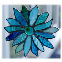 Sea Blue Flower Stained Glass Suncatcher 010