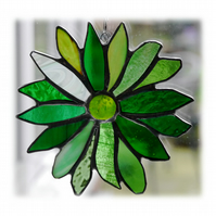 Green Flower Suncatcher Stained Glass  Handmade 001