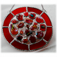 Melting Pot Suncatcher Stained Glass Abstract Handmade fused 002 Red