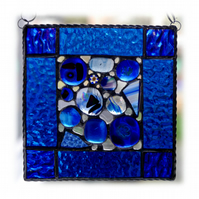 Blue Abstract Suncatcher Stained Glass Fusion 006