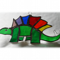 Dinosaur Suncatcher Stained Glass Stegosaurus Rainbow 023