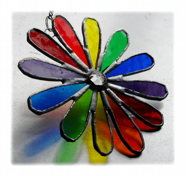 Rainbow Daisy Stained Glass Suncatcher Flower 003