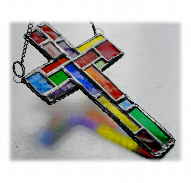 SOLD Cross Suncatcher Stained Glass  Patchwork Rainbow Handmade 022