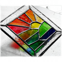 Setting Sun Picture Suncatcher Stained Glass Handmade Sunset 026