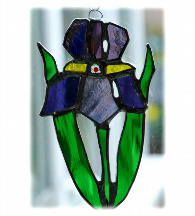 Iris Suncatcher Stained Glass Purple Flower 019