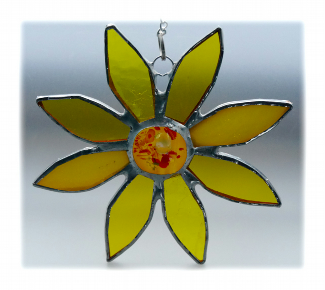 RESERVED Sunflower Suncatcher Handmade Stained Glass 034