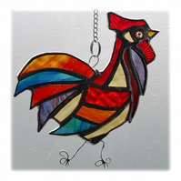 Cockerel Suncatcher Stained Glass chicken 017
