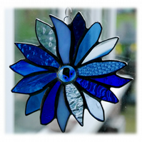 Winter Blues Flower Stained Glass Suncatcher Handmade 005