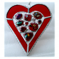 Heart Suncatcher Stained Glass Red Abstract 016