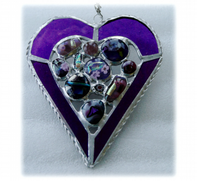 Heart Suncatcher Stained Glass Purple Abstract Fusioin 017