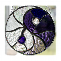 Yin Yang Suncatcher Stained Glass Handmade Purple 005