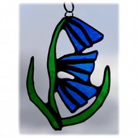 Bluebell Suncatcher Stained Glass Flower Blue 010