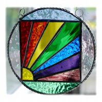Rainbow Weather Suncatcher Stained Glass Handmade Ring 002