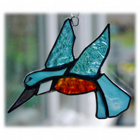 Kingfisher Suncatcher Stained Glass British Bird Handmade 043