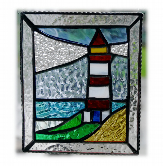 RESERVED for Eric Lighthouse Suncatcher Stained Glass Picture 006