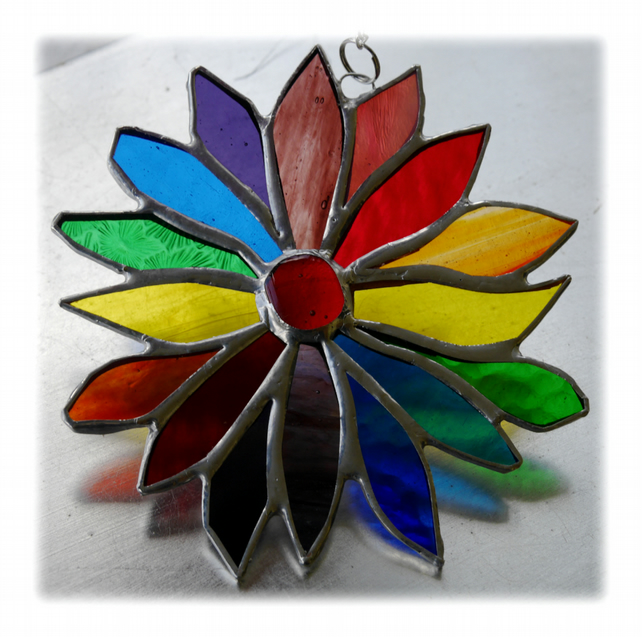 Rainbow Flower Stained Glass Suncatcher 045