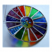 Summer Solstice Rainbow Burst Suncatcher Stained Glass Handmade 021