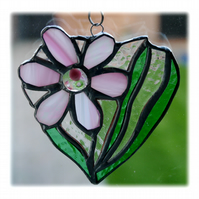 Daisy Heart Suncatcher Stained Glass Flower Pink 011
