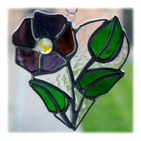 Pansy Heart Suncatcher Stained Glass Flower 014