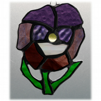 Pansy Suncatcher Stained Glass Purple Flower 009