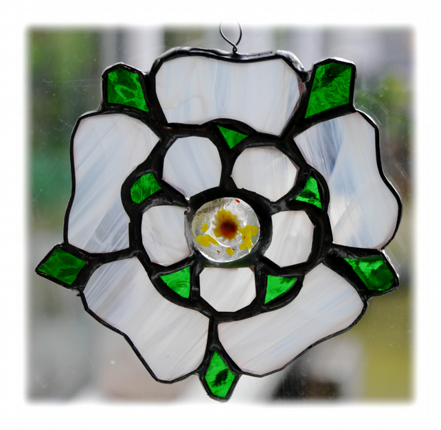 Yorkshire Rose Suncatcher Stained Glass 033