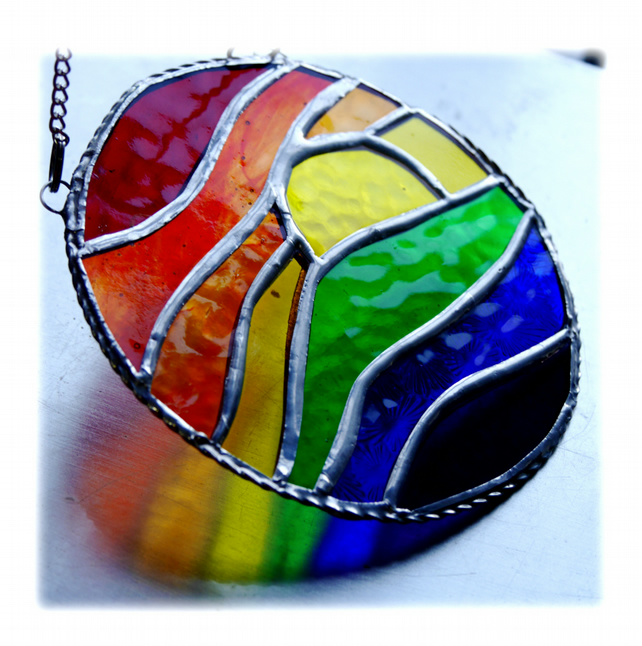 Rainbow Sunset Waves Stained Glass Suncatcher 003