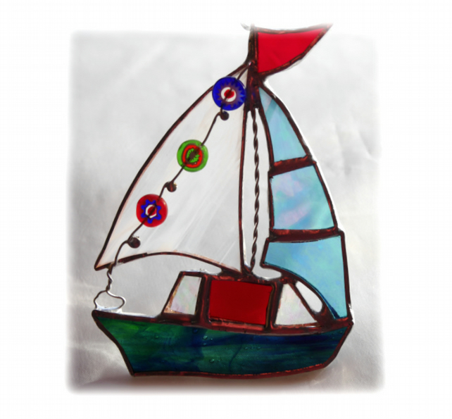 Boat Suncatcher Stained Glass Sailboat Yacht 058