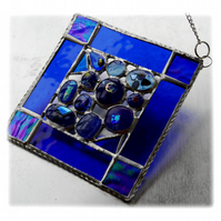 Blue Abstract Suncatcher Stained Glass Fusion 007