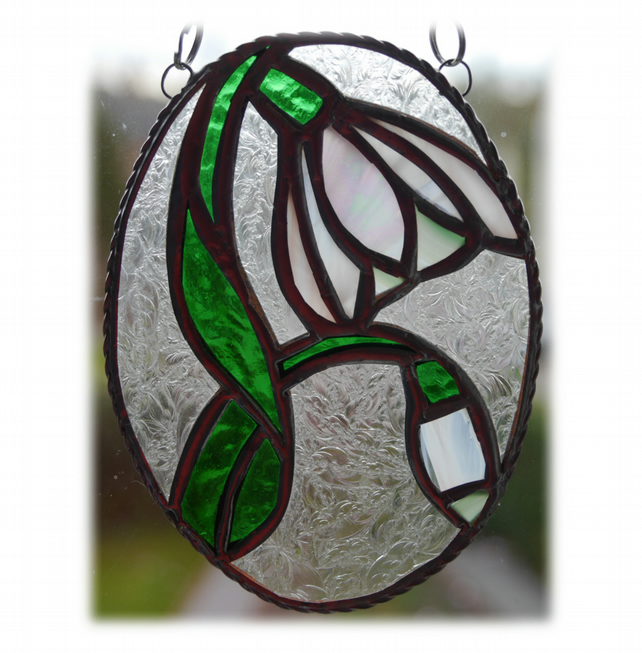 RESERVED Snowdrop Stained Glass Suncatcher Flower 017