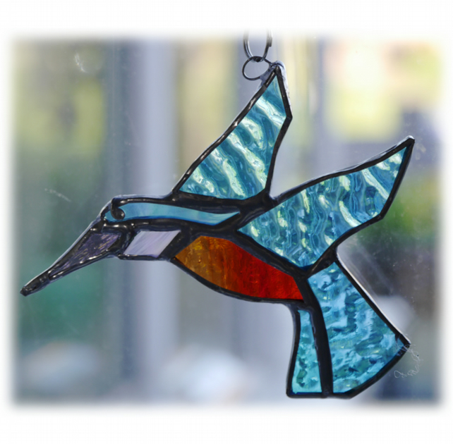 Kingfisher Suncatcher Stained Glass British Bird Handmade 045