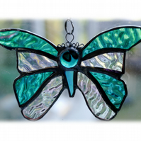 Birthstone Butterfly Suncatcher Stained Glass Aquamarine March
