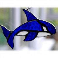 Whale Orca Suncatcher Stained Glass Blue