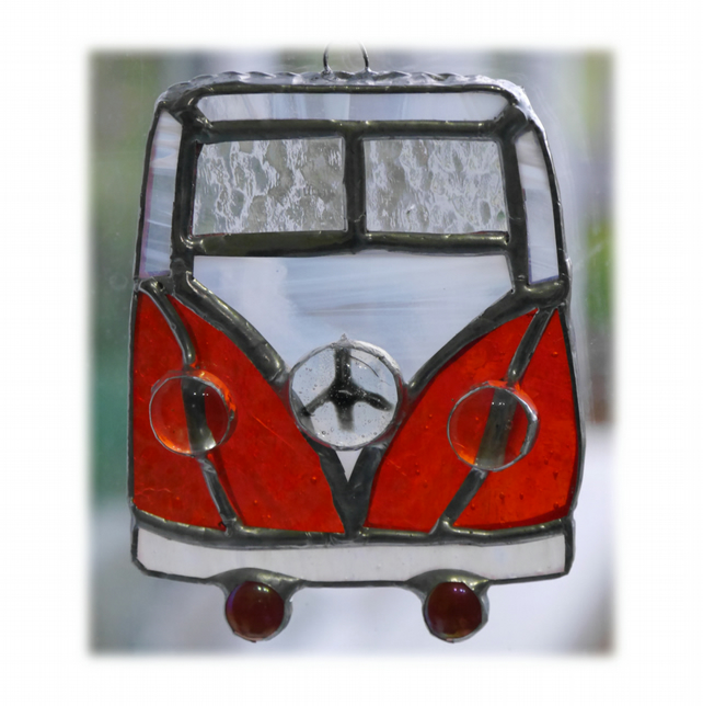 Campervan Suncatcher Stained Glass Orange  034