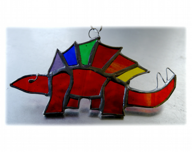 Dinosaur Suncatcher Stained Glass Stegosaurus Rainbow 024