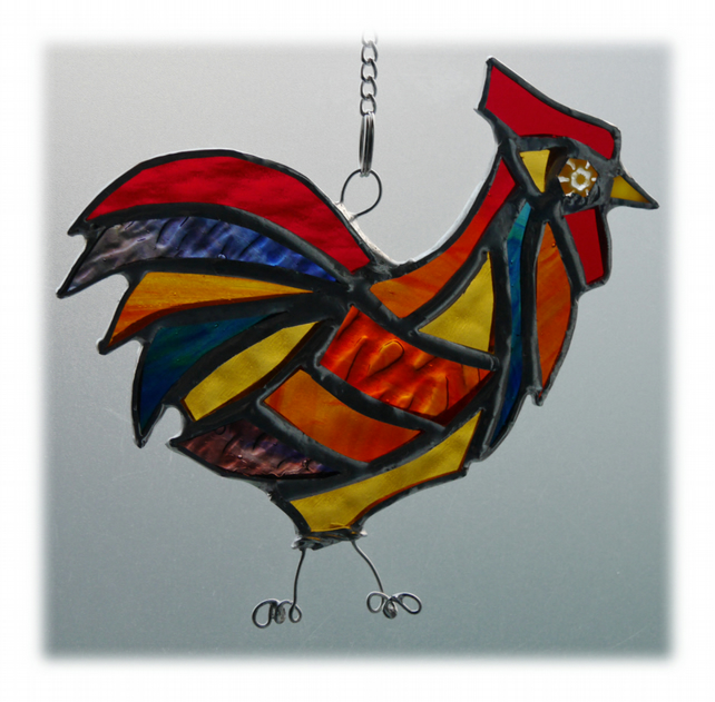 Cockerel Suncatcher Stained Glass chicken 019