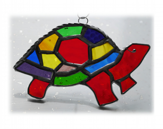 Suncatcher Stained Glass Tortoise Handmade Rainbow  017 Turtle