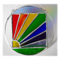 Rainbow Weather Suncatcher Stained Glass Handmade Ring 003