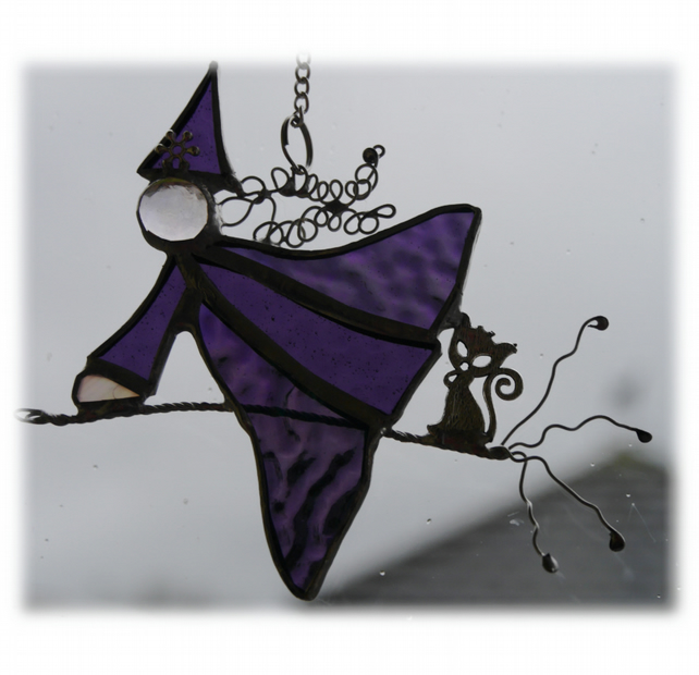 RESERVED Witch on Broomstick Suncatcher Stained Glass 038 Purple
