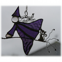 Witch on Broomstick Suncatcher Stained Glass 038 Purple