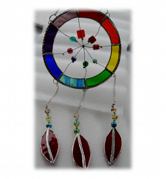 Dreamcatcher Stained Glass Suncatcher  Rainbow 017