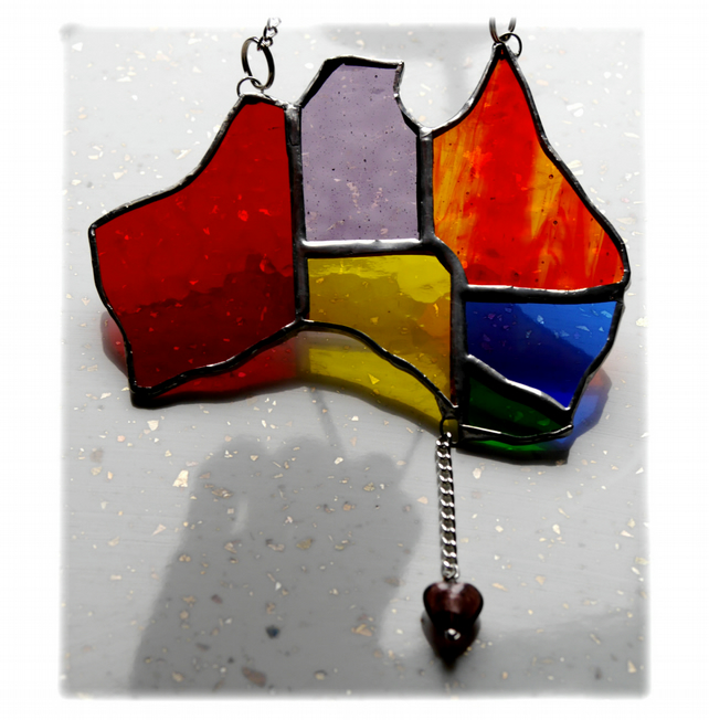 Australia Suncatcher Stained Glass Rainbow Map Oz 008