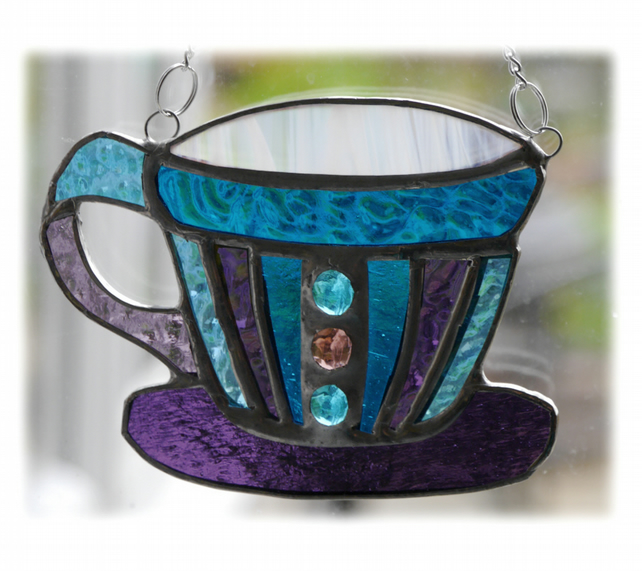 Teacup Stained Glass Suncatcher coffee cup mug 008